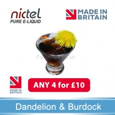 Nictel Dandilion and Burdock E-liquid ANY 4 for £10 - 10 for £22