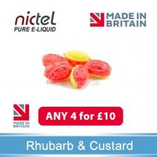 Nictel Rhubarb and Custard E-liquid ANY 4 for £10 - 10 for £22